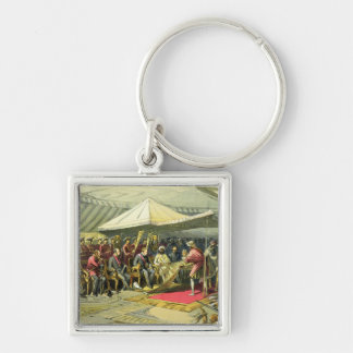 The Return Visit of the Viceroy to the Maharajah o Silver-Colored Square Key Ring