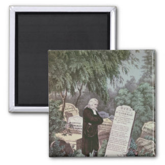 The Rev. John Wesley visiting his mother's grave Square Magnet