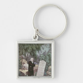 The Rev. John Wesley visiting his mother's grave Silver-Colored Square Key Ring