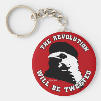 The Revolution will be Tweeted Red Round Key Chain