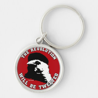 The Revolution will be Tweeted Red Round Silver-Colored Round Key Ring