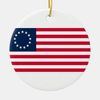The Revolutionary War Betsy Ross Flag Round Ceramic Decoration