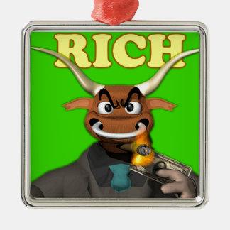 The Rich Bull Silver-Colored Square Decoration