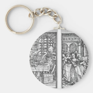 The Rich Man The Queen by Hans Holbein the Younger Basic Round Button Key Ring