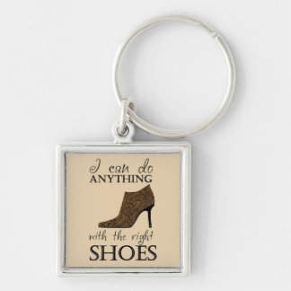 The Right Shoes Silver-Colored Square Key Ring