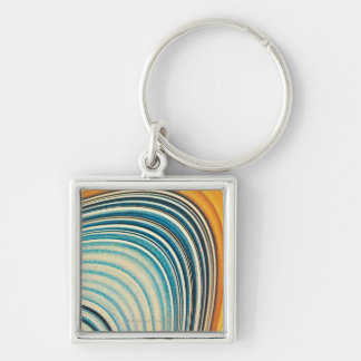 The Rings of Saturn Silver-Colored Square Key Ring