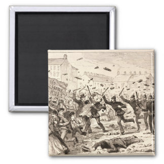 The Riots in Belfast Square Magnet