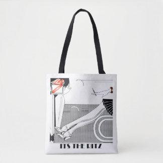 The Ritz 1920 Style Art Deco Design Black & White Tote Bag