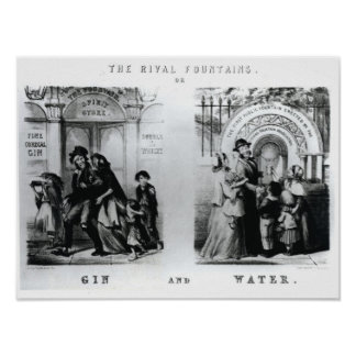 The Rival Fountains or Gin and Water Posters
