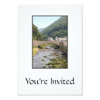 The River and Bridge in Lynmouth, Devon, England. 13 Cm X 18 Cm Invitation Card