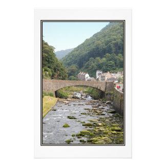 The River and Bridge in Lynmouth, Devon, England. 14 Cm X 21.5 Cm Flyer