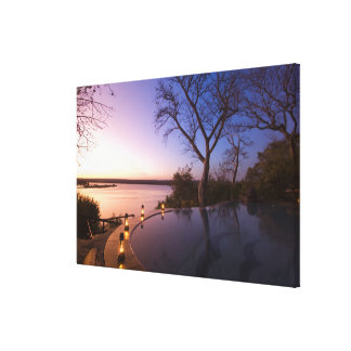 The River Club lodge, sunset on Zambesi River, Canvas Print