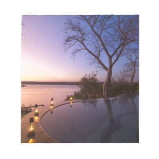 The River Club lodge, sunset on Zambesi River, Notepad