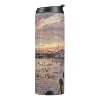 The River is My Happy Place, Mississippi River Art Thermal Tumbler