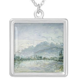 The River Isere at Grenoble, 1877 Silver Plated Necklace