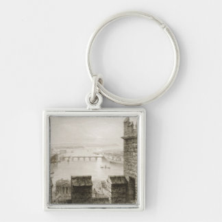 The River Shannon and Limerick Silver-Colored Square Key Ring