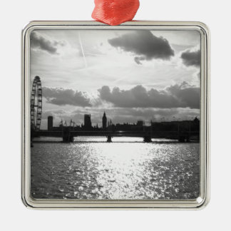 The River Thames and London mono Silver-Colored Square Decoration