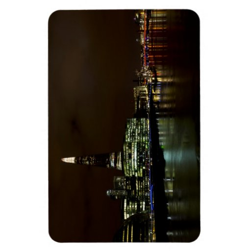 The River Thames at Night Rectangular Magnets
