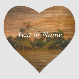 the river, wooden ar sticker