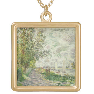 The Riverbank at Gennevilliers, c.1875 (oil on can Square Pendant Necklace