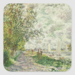 The Riverbank at Gennevilliers, c.1875 (oil on can Square Sticker