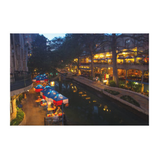 The Riverwalk At Dusk In Downtown San Antonio Canvas Print