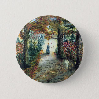 The Road Home  autumn watercolor 6 Cm Round Badge