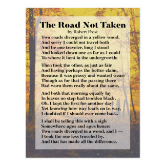 The Road Not Taken - Robert Frost Poem postcard