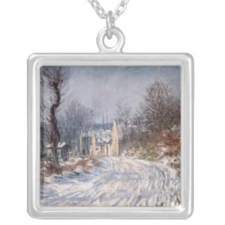 The Road to Giverny, Winter, 1885 Silver Plated Necklace