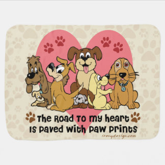 The Road To My Heart Dog Paw Prints Baby Blanket