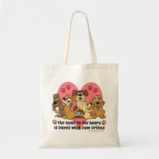 The Road To My Heart Dog Paw Prints Budget Tote Bag