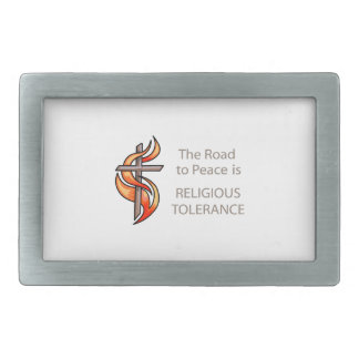 The Road To Peace Is Religious Tolerance Belt Buckle