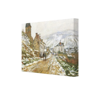 The Road to Vetheuil in Winter by Monet Wrapped Ca Canvas Print