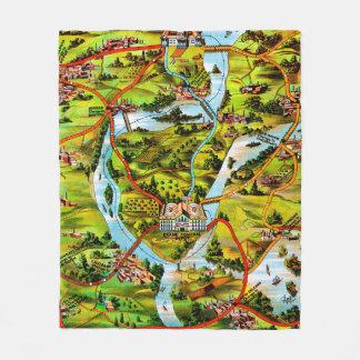 The Road to Washington vintage map Fleece Blanket
