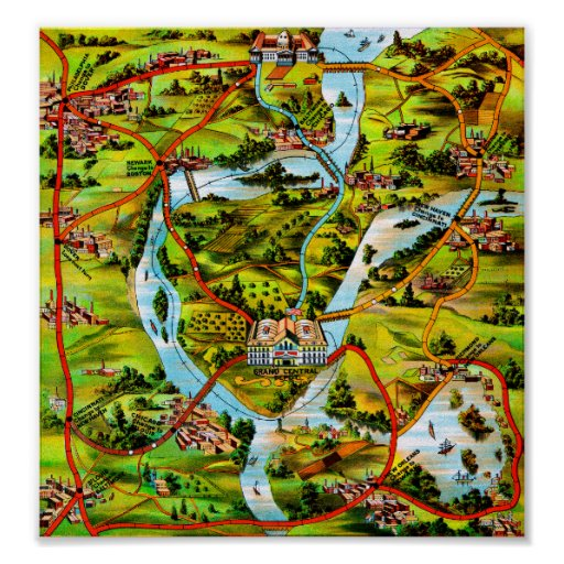 The Road to Washington vintage map Poster
