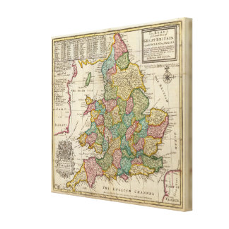 The roads of England and Wales Stretched Canvas Print