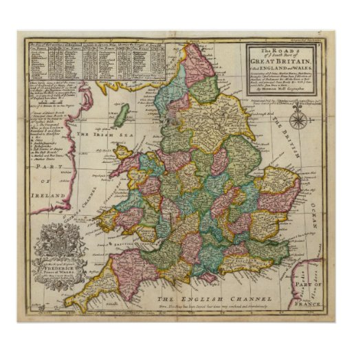 The roads of England and Wales Posters
