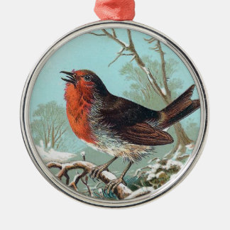 The Robin Vintage Bird Illustration Silver-Colored Round Decoration