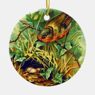 The Robin's Nest Vintage Illustration Christmas Ornament