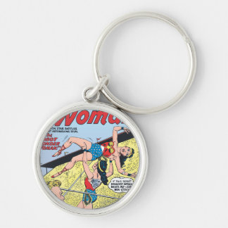 The Robot Wonder Woman Silver-Colored Round Key Ring