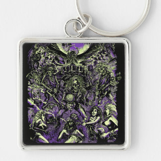 The Rockin' Dead Skeleton Zombies Silver-Colored Square Key Ring