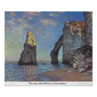 The rocky cliffs of Étretat by Claude Monet Poster