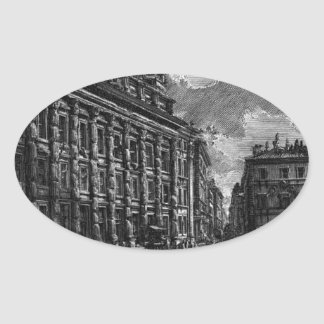 The Roman antiquities, t. 1, Plate XIII by Giovann Oval Sticker