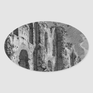 The Roman antiquities, t. 1, Plate XX. Portico... Oval Sticker