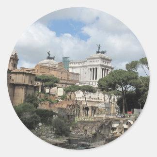 The Roman Forum - Latin: Forum Romanum Round Stickers