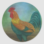 The Rooster Round Stickers