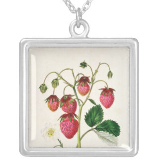 The Roseberry Strawberry, engraved by Watte Silver Plated Necklace