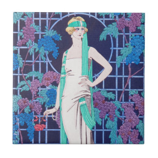The Roses and the Night Art Deco Tile