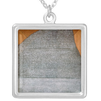 The Rosetta Stone, from Fort St. Julien, Silver Plated Necklace