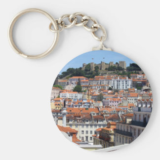 The Rossio and the Hill of the Castle, Lisbon, Por Basic Round Button Key Ring